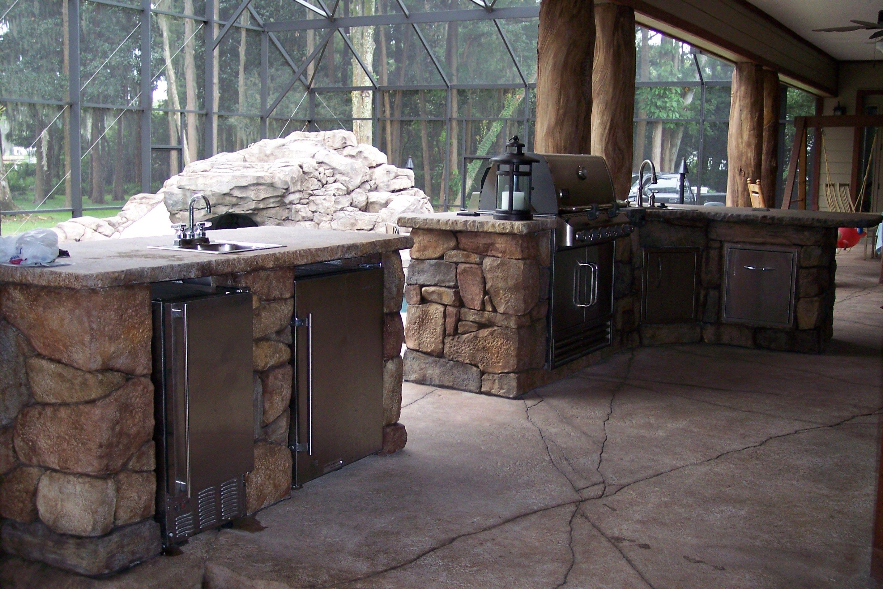 Elegant Custom Kitchen Summer Kitchens Construction Stone Vintage Summer