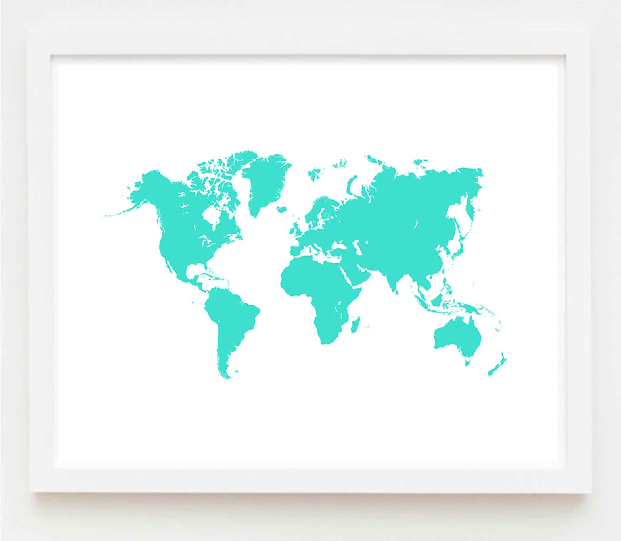 Turquoise world map art print download world map poster large turquoise world map art print download world map poster large world map gumiabroncs Gallery
