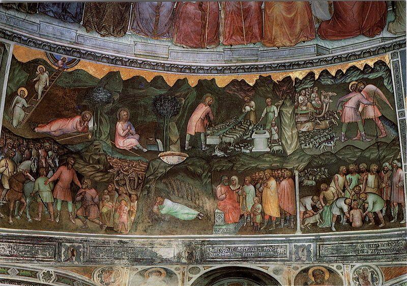 Padova - Battistero - Tamburo - Storie di Giacobbe ( 1375-1378 ), Giusto de' Menabuoi.