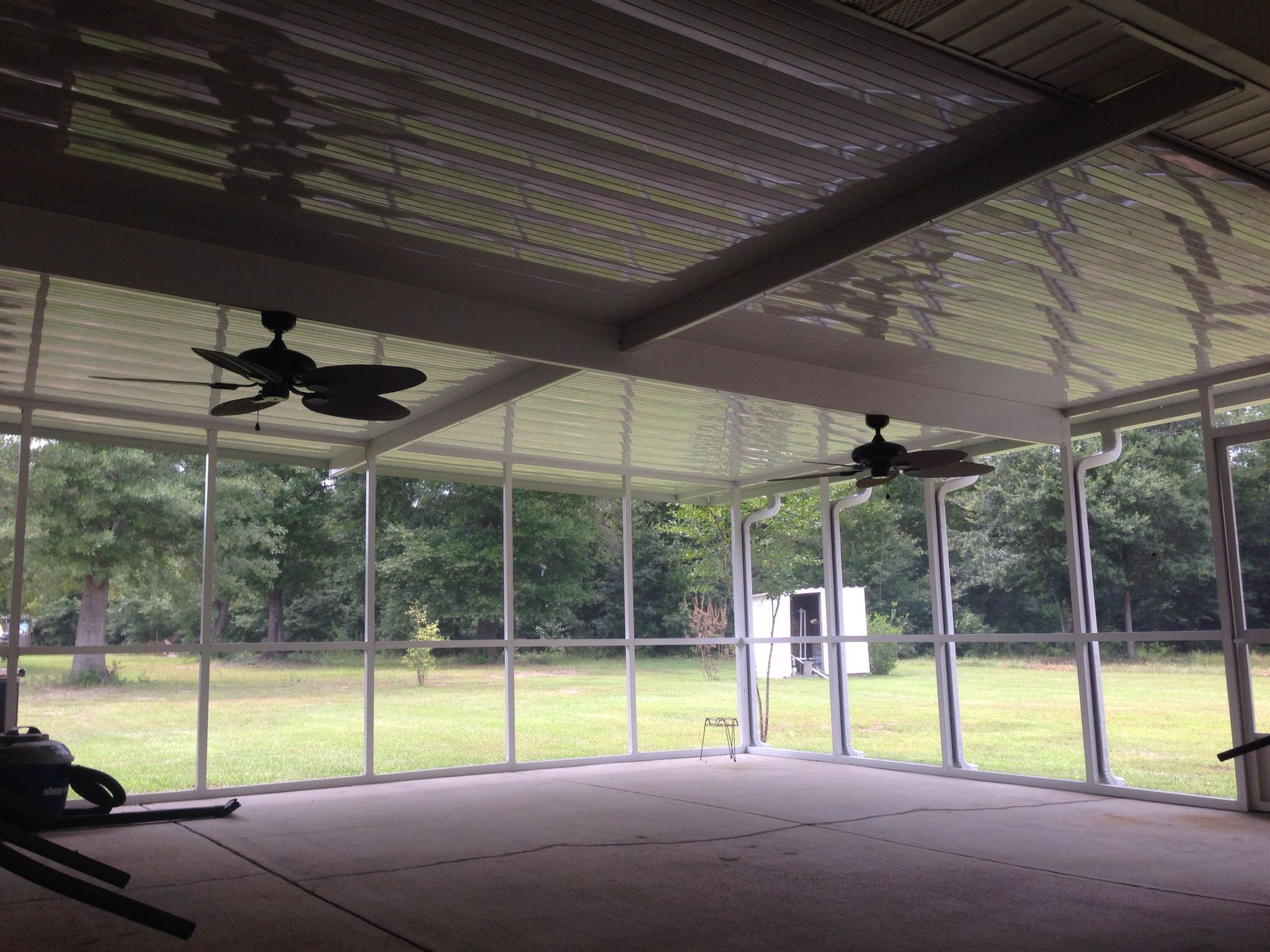 "16 by 28 screened patio cover 9"" center beam with wire run to"