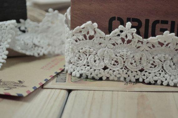 Pizzo Venezia bianco cotone ricamo pizzo, Floral Lace Trim, 1,57 pollici largo 2 metri