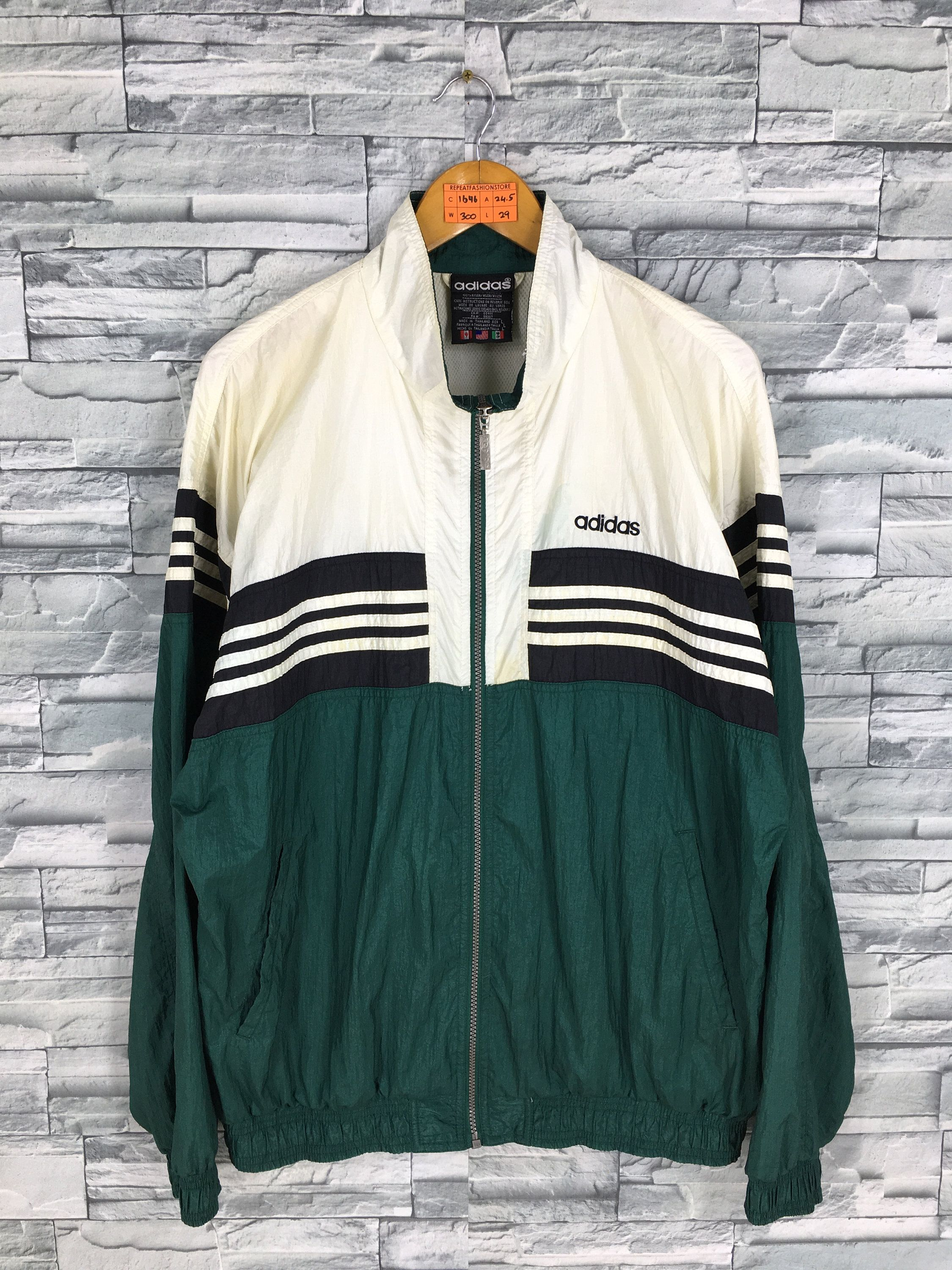 VTG 90S ADIDAS Windbreaker Zip Up Jacket Three Stripes