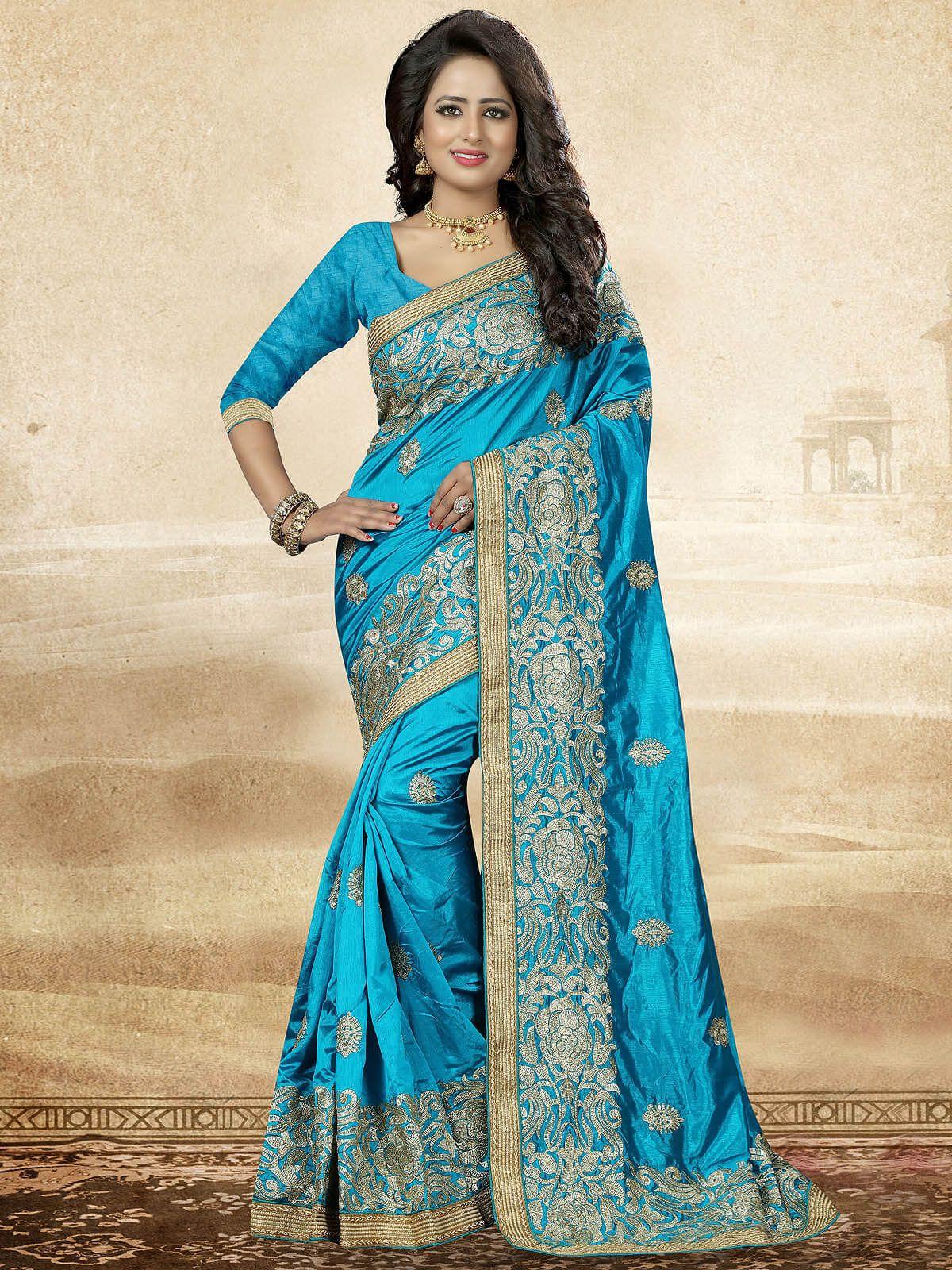 3ae64ece418539 Ravishing Sky Blue and Gold Embroidered Festive Art Silk Saree  sarees   weddingsarees  festivesarees  silksarees