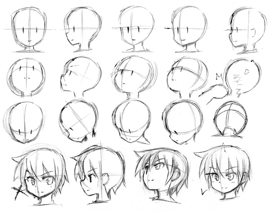 face sideways down at DuckDuckGo Drawing heads, Anime