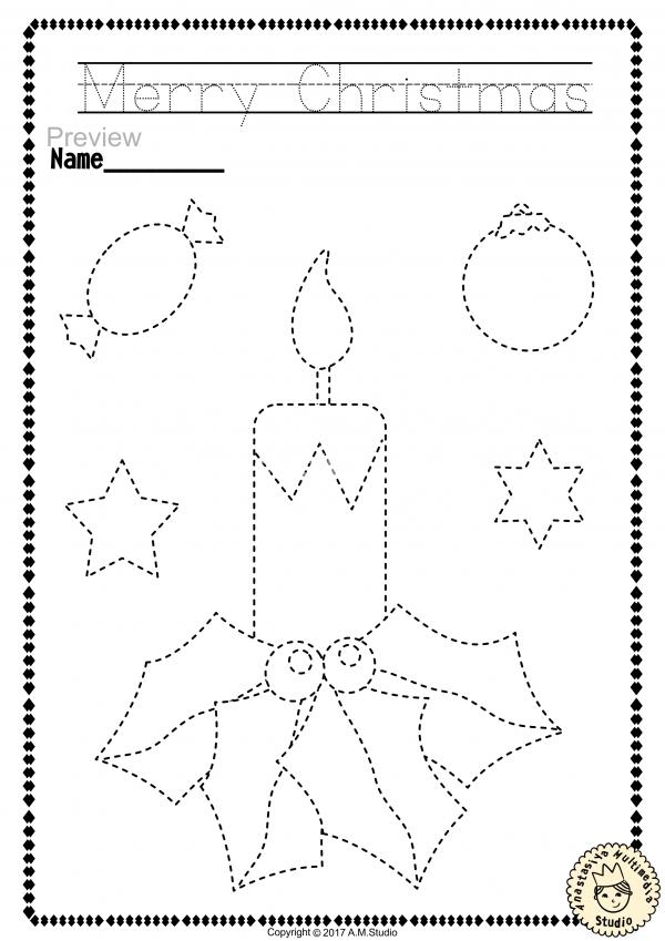 Christmas Trace And Color Pages {Fine Motor Skills + Pre-writing} *  Anastasiya Multimedia Studio Christmas Worksheets, Christmas Worksheets  Kindergarten, Pre Writing
