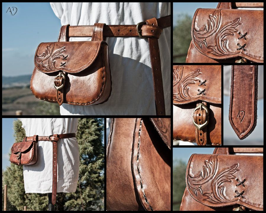 Leather Purse! Red Belt Purse Belt Bag Leather Bag Hip Bag Leather Handmade Pouch Belt Pouch Medieval Pouch