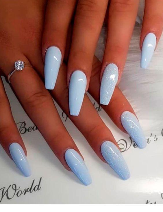 Nice Light Blue Long Nails Summer Acrylic Nails Coffin Nails Long