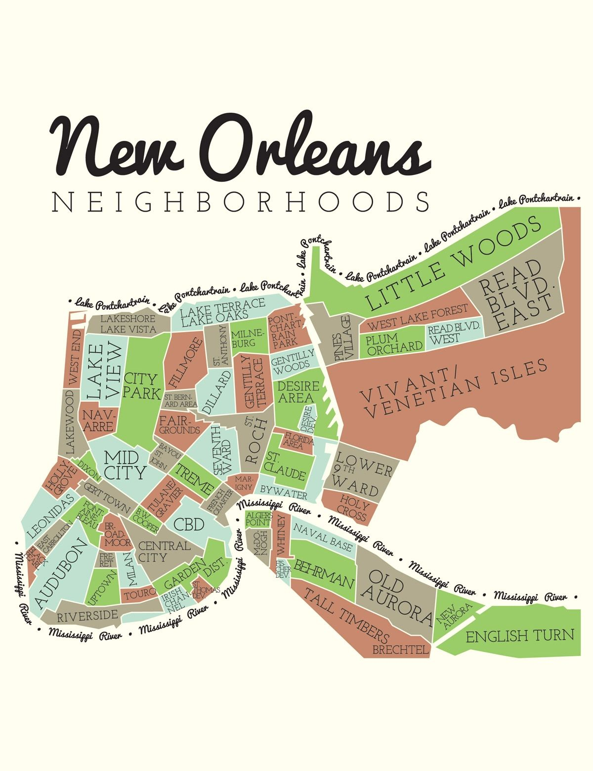 New Orleans Neighborhoods This Doesnt Click Through To The Map - New orleans in us map