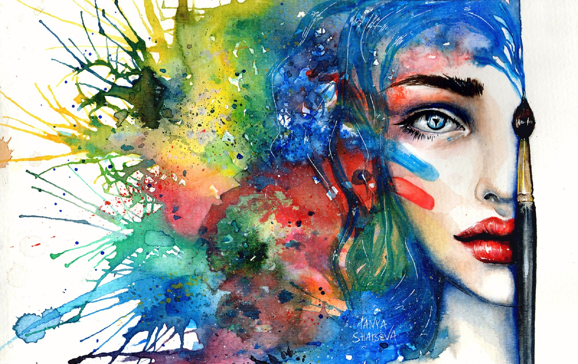 Beauty Painting Desktop Background Wallpaper Free Watercolor