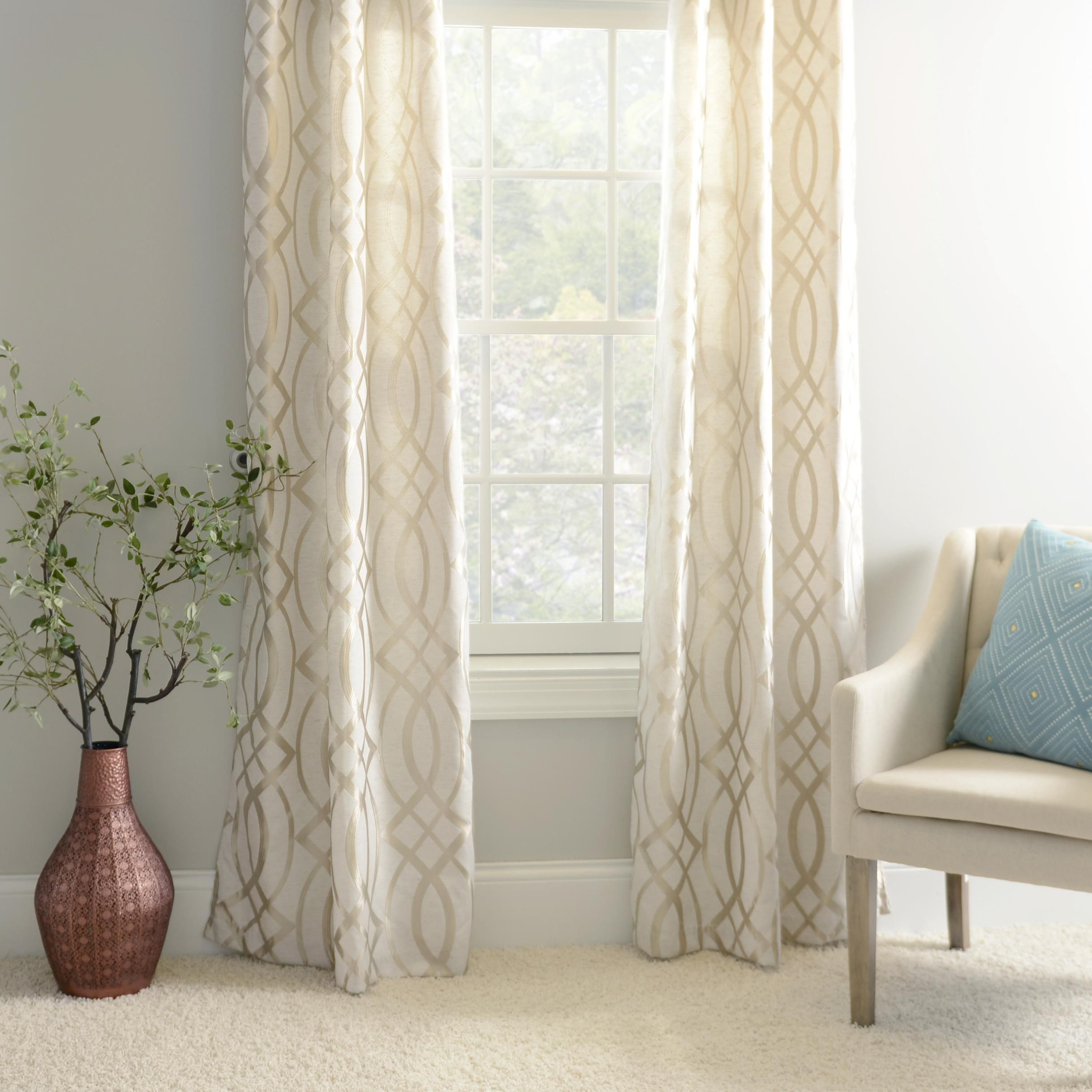 Product details metallic avalon curtain panel set 84 in - Living room curtain ideas ...