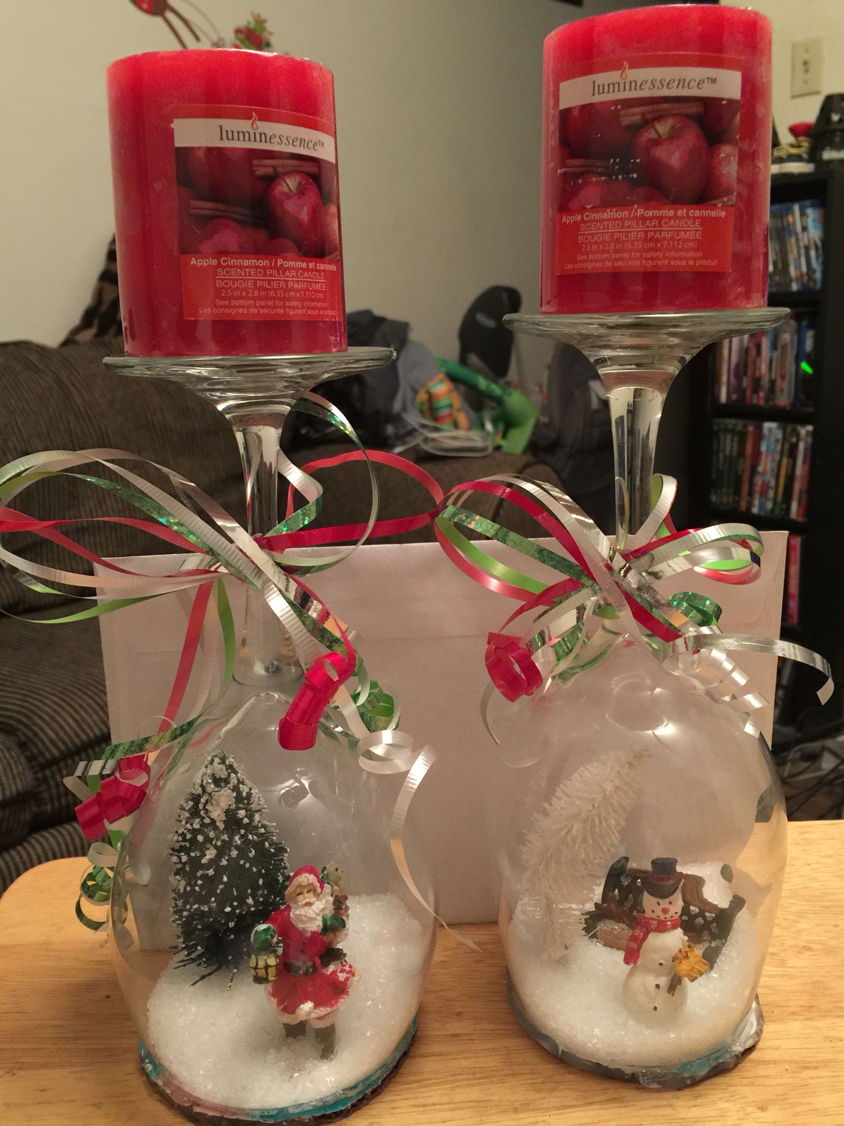 Wine glass snow globes candle holders Wine glass