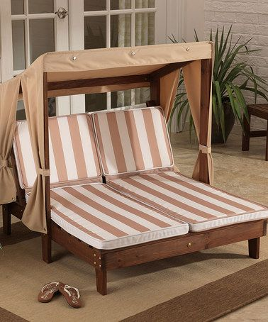 Oatmeal White Stripe Double Chaise Pool Furniture Chaise