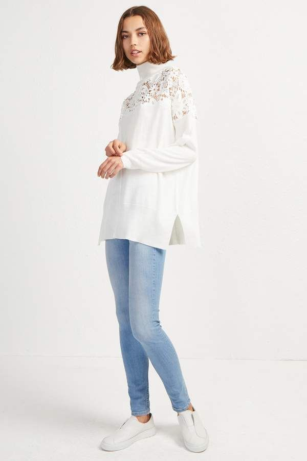 b00554b429a Nadia Lace Knit High Neck Jumper | Products | High neck jumper, Lace ...