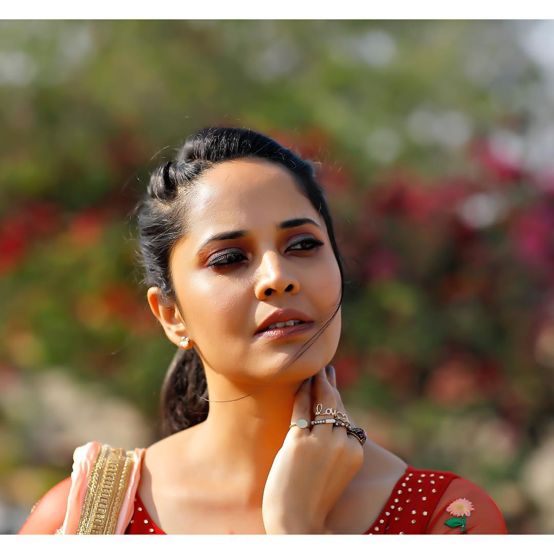 Indian TV Model Anchor Anasuya Bharadwaj in Red Gown Red