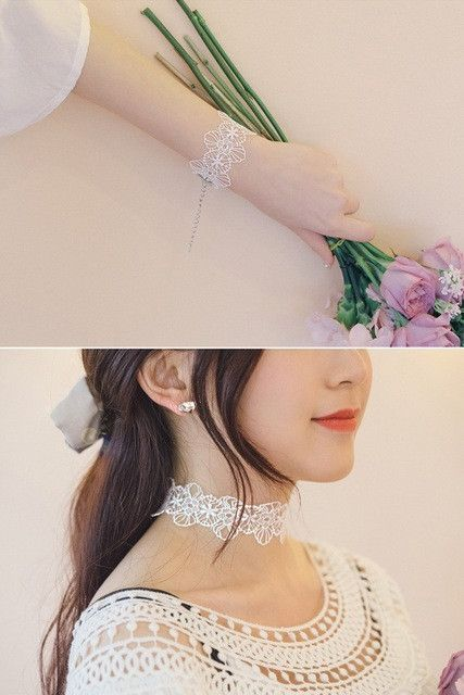 Handmade Choker Necklace Set - Available In White
