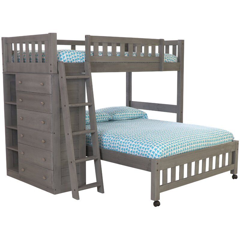 Birch Lane Heritage Ignazio Twin Over Full L Shaped Bunk Bed With Drawers And Shelves Reviews Wayfair In 2020 Bunk Bed With Trundle Cool Bunk Beds Bunk Beds
