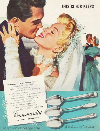 Original Print Ad 1946 Community Silverplate This Is For Keeps Jon Whitcomb Advertising-print