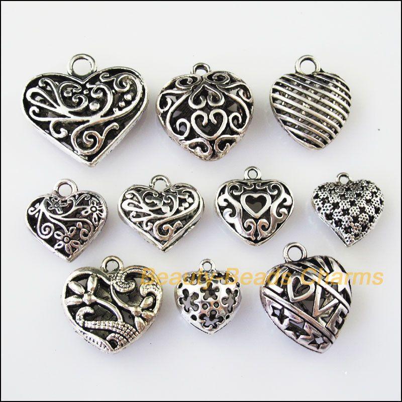 10 x Tibetan Silver Tone Love Heart Charms Pendants Beads Jewellery Making