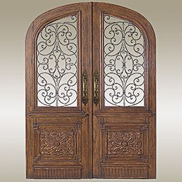 Arte De Mexico Solid Wood Arched Double Doors With Hand