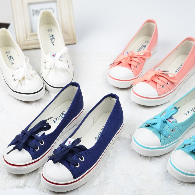 Beier 2016 spring and summer shallow mouth canvas shoes female Korean tidal  shoes a pedal lazy