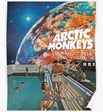 Swim Monkeys Space Poster