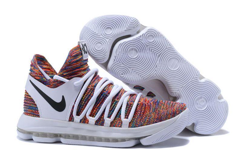 cheap nike zoom kd 10 basketball shoes white black colorful