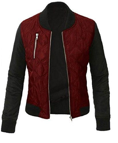 Coolred Womens Conjoin Color Zipper Cardigan Thick Warm Jacket Coat Wine Red L