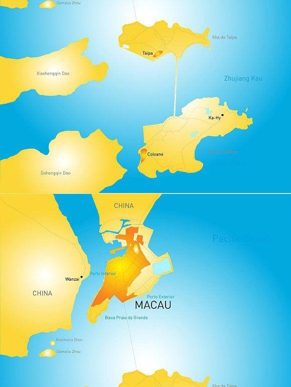 Macau administrative map Map illustration vector Map