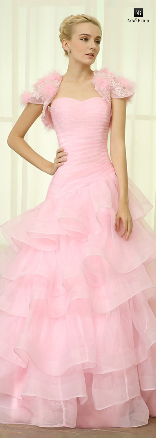 Glamorous organza sweetheart neckline ruffled A-line wedding dresses ...