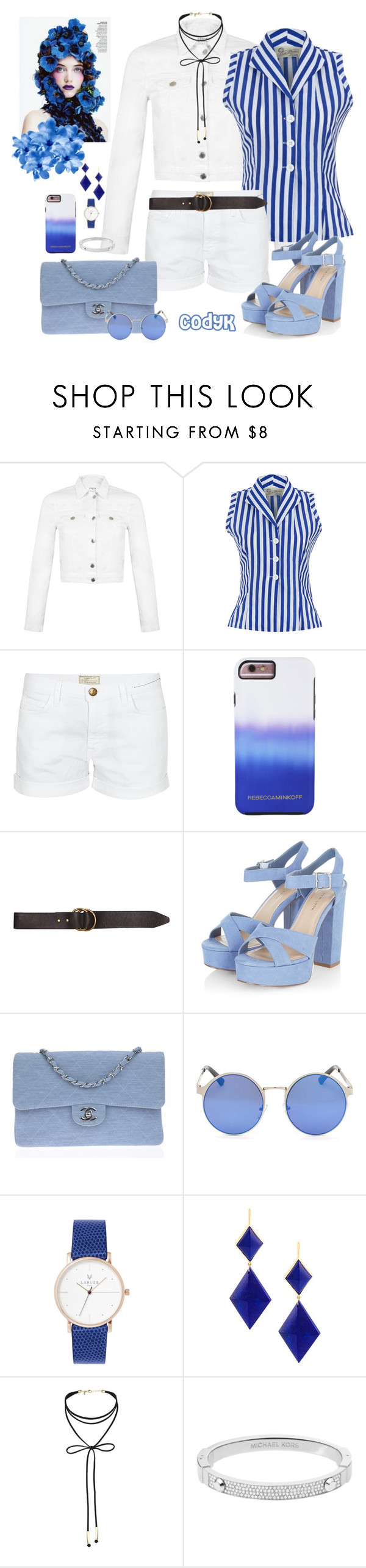 """Blue & White"" by cody-k ❤ liked on Polyvore featuring Miss Selfridge, Current/Elliott, Rebecca Minkoff, Billabong, Chanel, Marie Hélène de Taillac and Michael Kors"