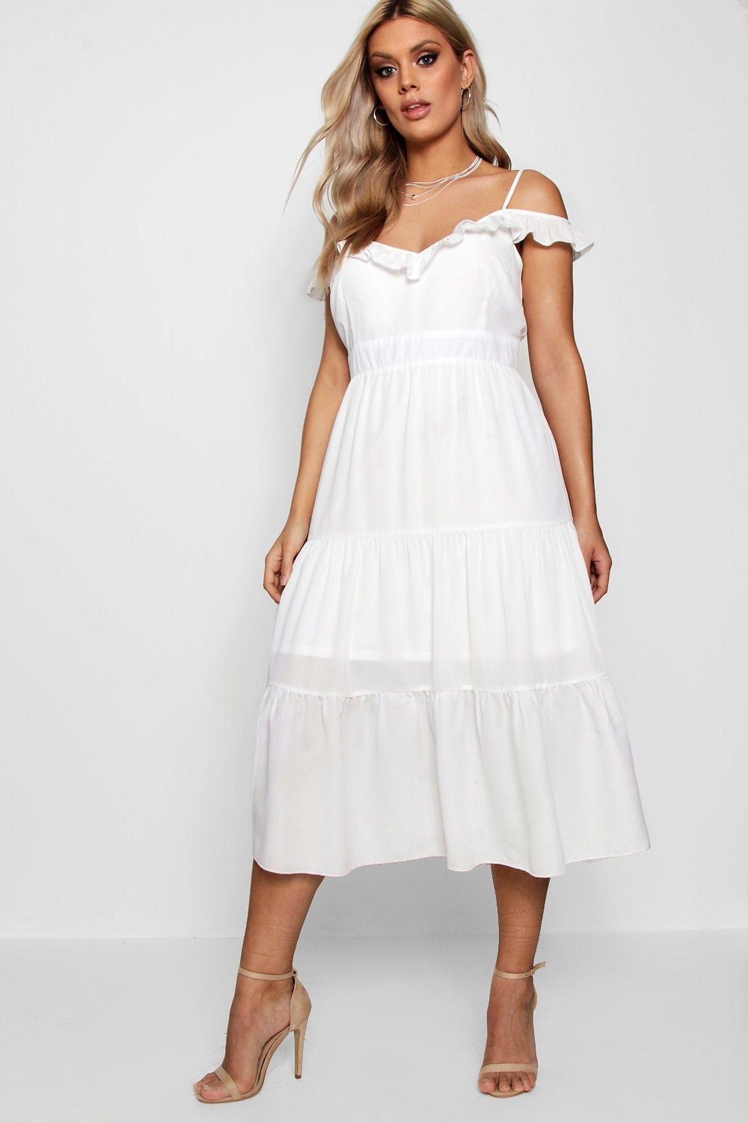 a88da39167d4 Plus Frill Detail Cold Shoulder Dress in 2019 | Dresses | Dresses ...