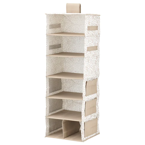 Storstabbe Hanging Storage With 7 Compartments Beige 11 X11 X35 Ikea In 2020 Hanging Storage Bedroom Storage For Small Rooms Bedroom Storage