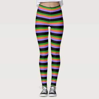 Halloween Colors Striped Leggings | Zazzle.com #stripedleggings Halloween Colors Striped Leggings - stripes gifts cyo unique style #stripedleggings