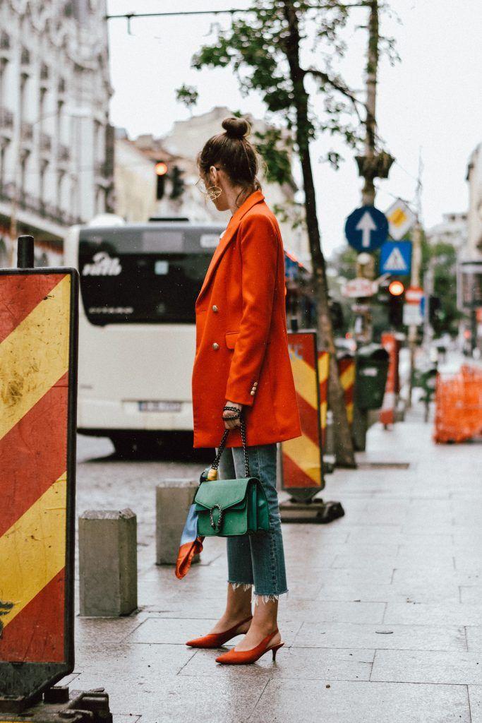 d928db620812 Zara orange blazer, asos double breasted blazer, bold color jacket, gold  earrings,
