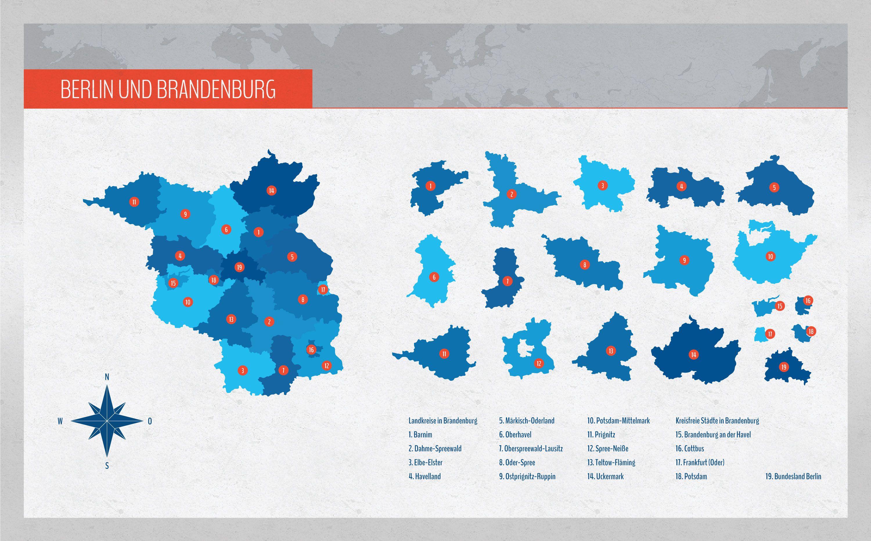 Bundesland Karte Mit Städten.Landkarte Brandenburg Mit Landkreisen Und Berlin Landkarten