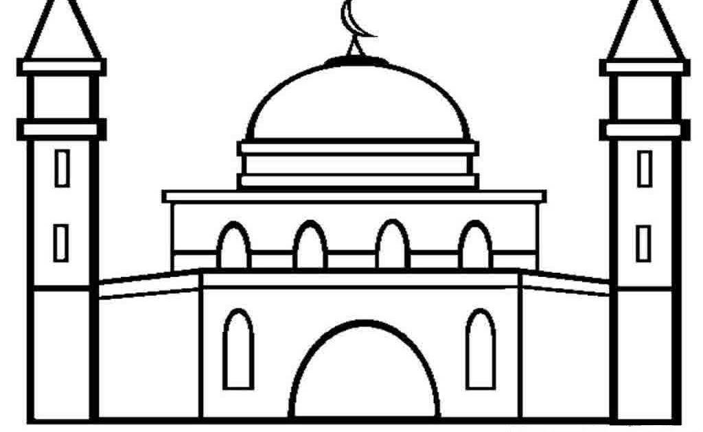 Mewarnai Gambar Masjid Hitam Putih