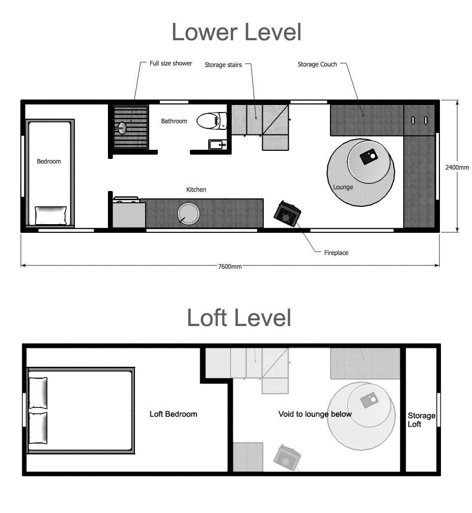 Loft bed plans full size  Floor Plans For Tiny Homes  viajesairmar  Pinterest