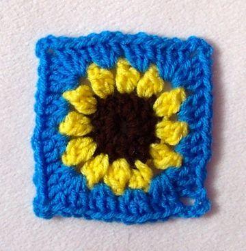 Crochet Sunflower Granny Square Free Pattern Motif Pinterest