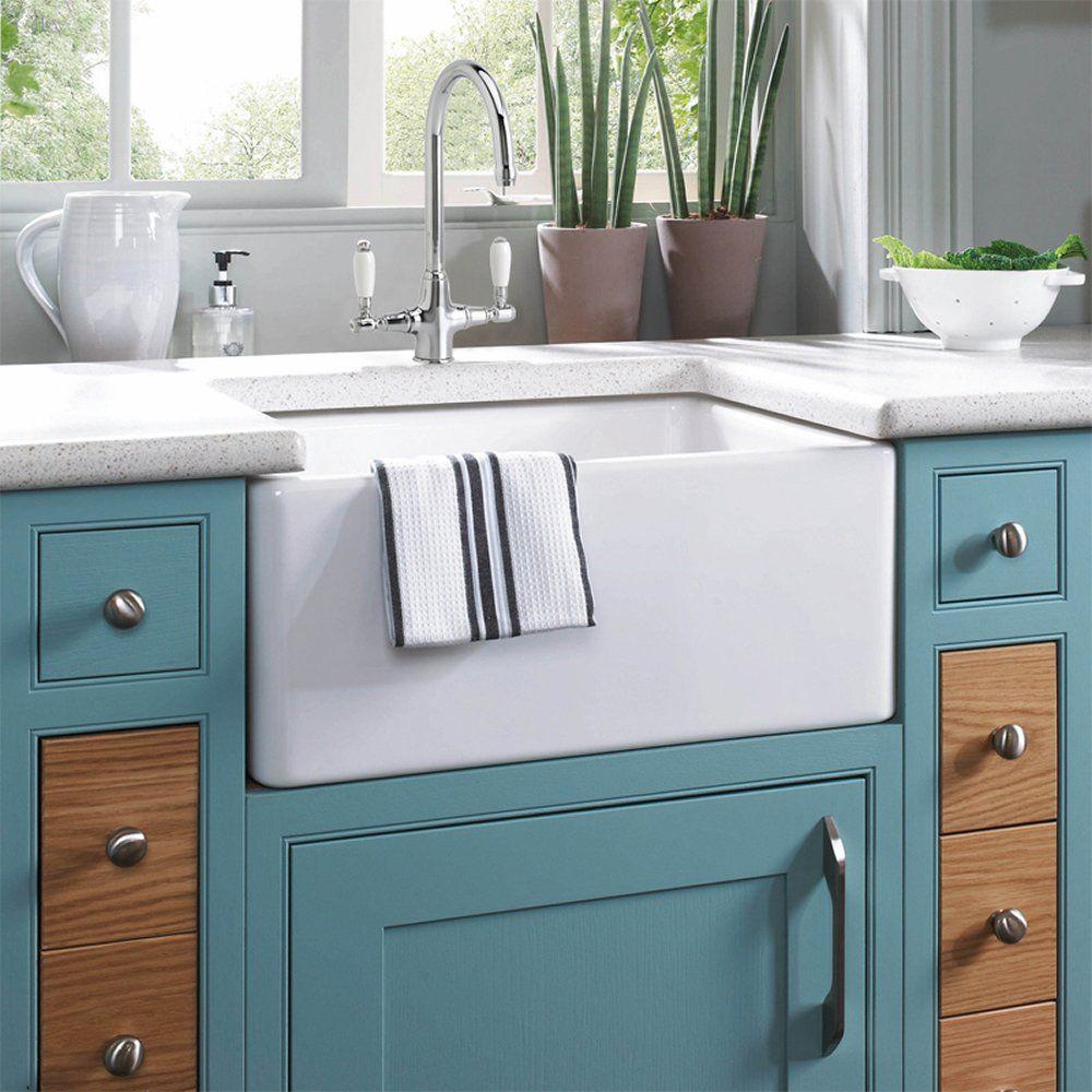 Astini Belfast 100 1.0 Bowl White Ceramic Kitchen Sink & Strainer ...
