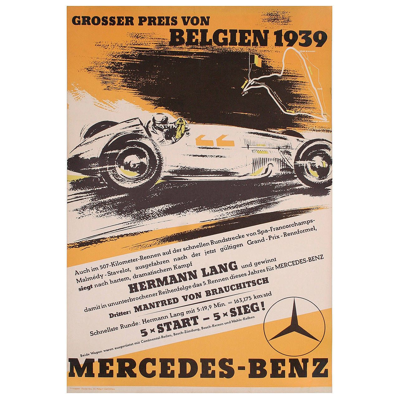 Mercedes Benz Belgian Grand Prix Victory Poster 1939 1stdibs Com Vintage Racing Poster Racing Posters Mercedes