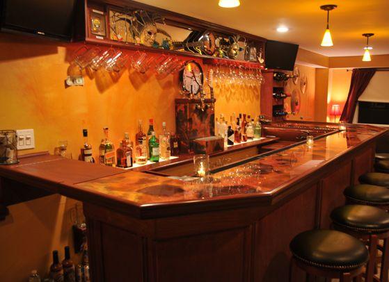 Beau Rojo Y Negro Copper Bar Top W/ Epoxy   Reverse Side Of Sheet Used #