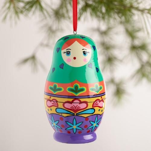 Wood Russian Doll Ornaments, Set of 3