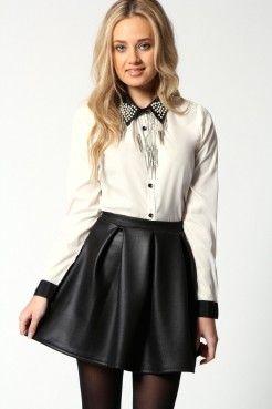 Liz Wet Look Scuba Box Pleat Skater Skirt Pour Ninon