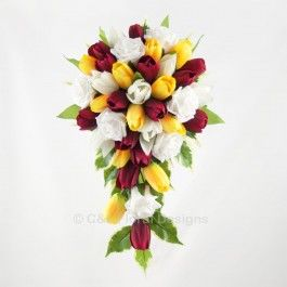 Red, White and Yellow Bridal Bouquet