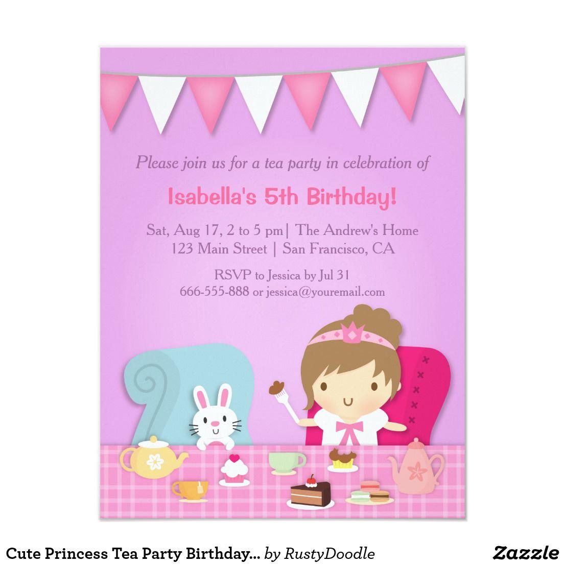 Cute Princess Tea Party Birthday Invitations Invite your party ...