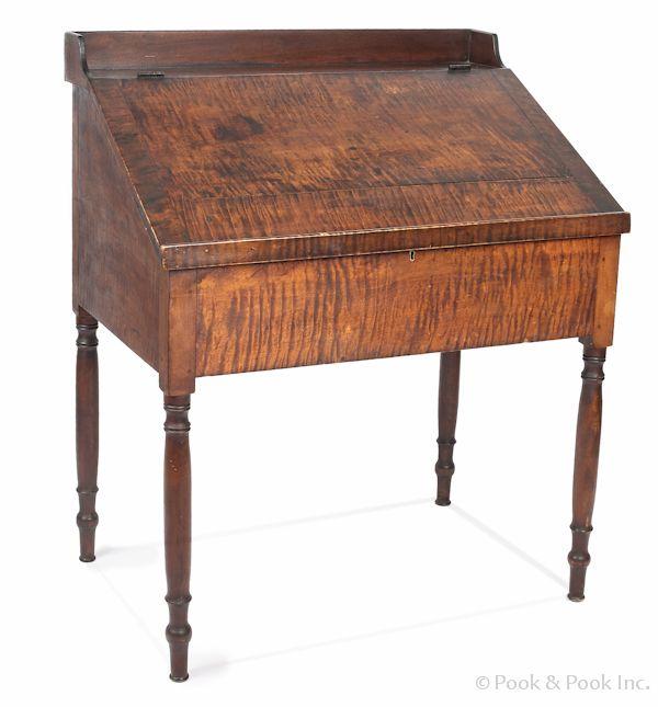 Pennsylvania Sheraton Tiger Maple Work Desk Ca The Interior - 36 desk with drawers