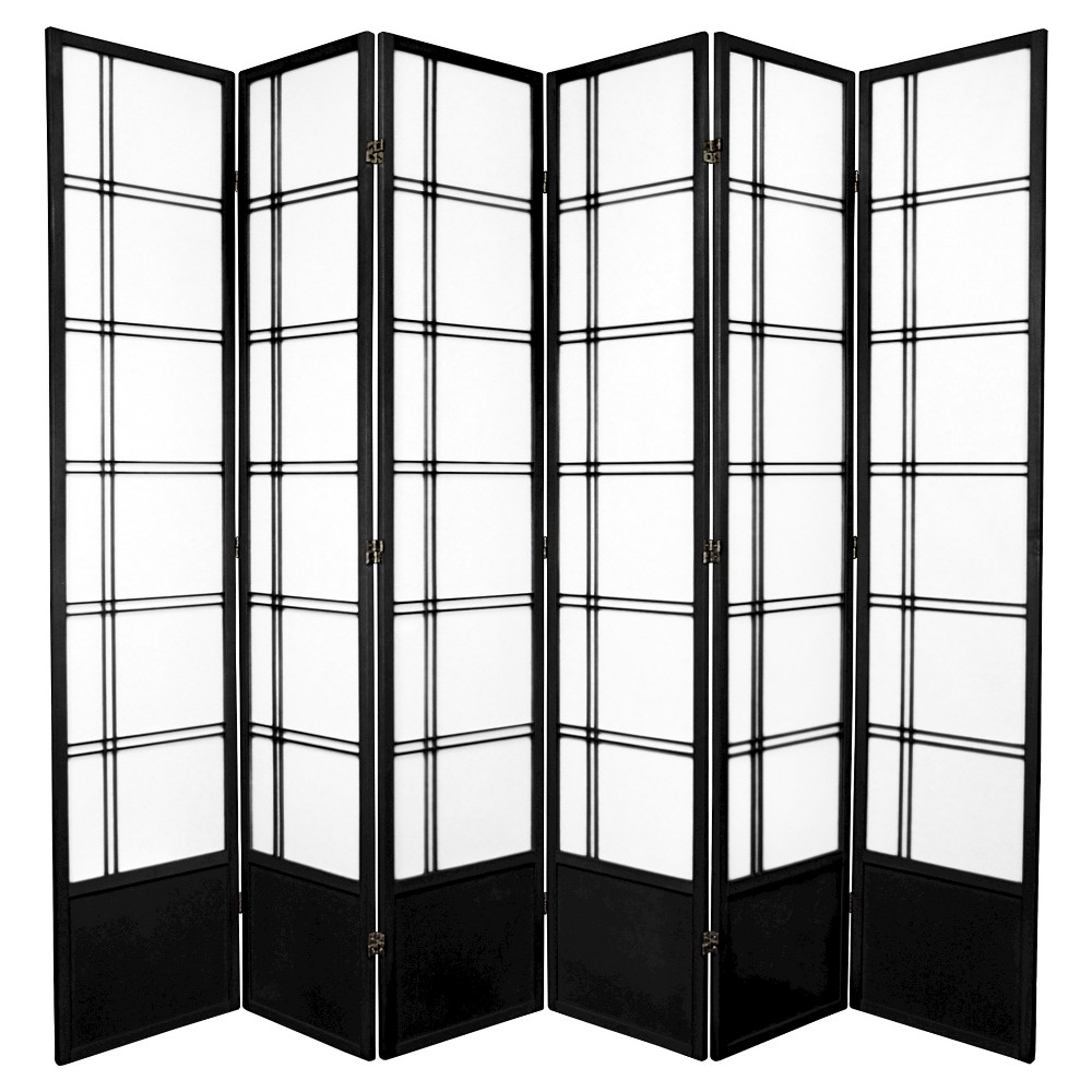 7 Ft Tall Double Cross Shoji Screen Black 6 Panels Shoji Screen Oriental Furniture Shoji Room Divider