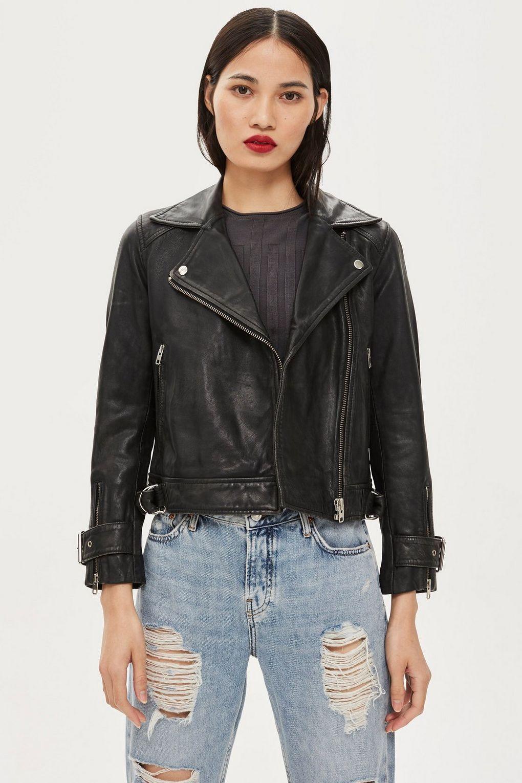 PETITE Leather Biker Jacket