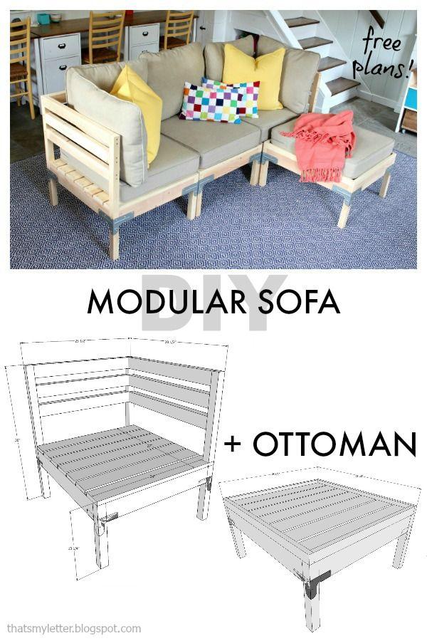 Diy Modular Sofa And Ottoman Free Plans Scrapworklove