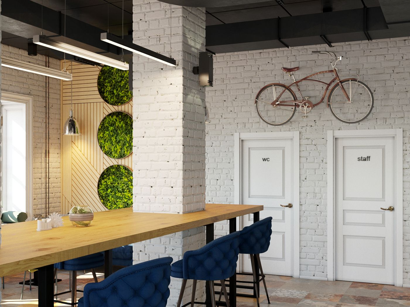 Interior of the cafe green leaf cafe on behance wood